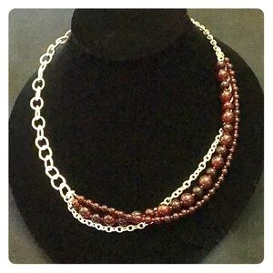 "32"" Long Express Cranberry Bead & Silver Necklace"